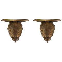 Pair of Italian Gold Gilt Shelves