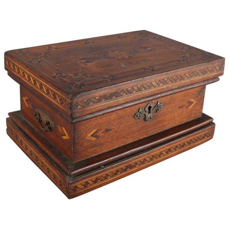 Antique English Inlaid Parquetry Petite Humidor Cigar Box, 19th Century