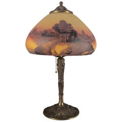 Arts & Crafts Pittsburgh School Reverse Painted Table Lamp, 20th Century