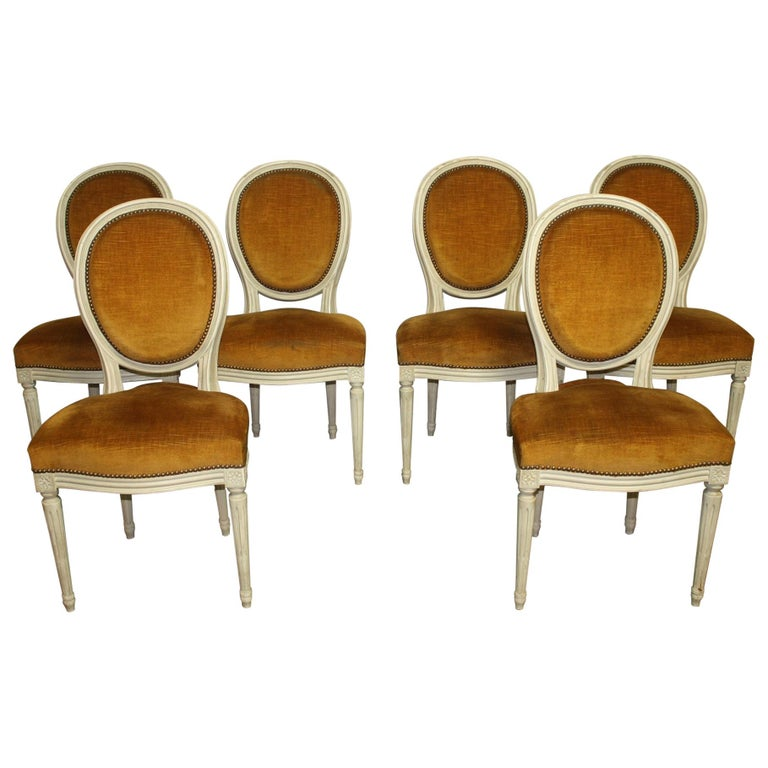 Exquisite Set of Six Louis XVI French Chairs For Sale