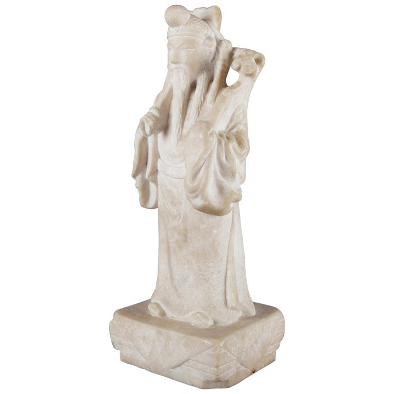 Chinese Figural Carved Alabaster Portrait Sculpture of Emperor, 19th Century