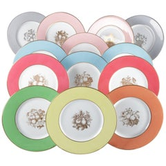 13 English Spode Multi-Colored Fruit Porcelain Dinner Plates, 20th Century