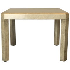 Cream Textured Parchment Clad Game Table by Karl Springer