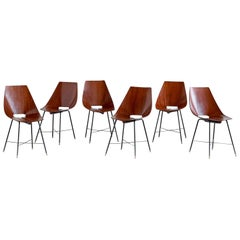 Set of Six Plywood Dining Chairs by Societá Compensati Curvati, Italy, 1959