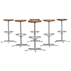 Midcentury Chrome Framed Stools with Wooden Seat Set of Six