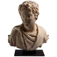 Ancient Roman Marble Bust of a Young Man, 150 AD
