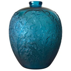 1921 Rene Lalique Acanthes Vase in Electric Blue Glass