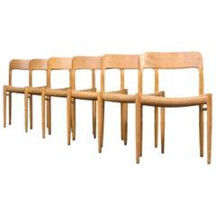1960s Niels O. Møller Model 75 Dining Chairs for J.L. Møller Set of Six