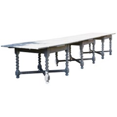 Large Antique Limed Oak Dining / Refectory Table in Carolean Style ( 12 Seater )