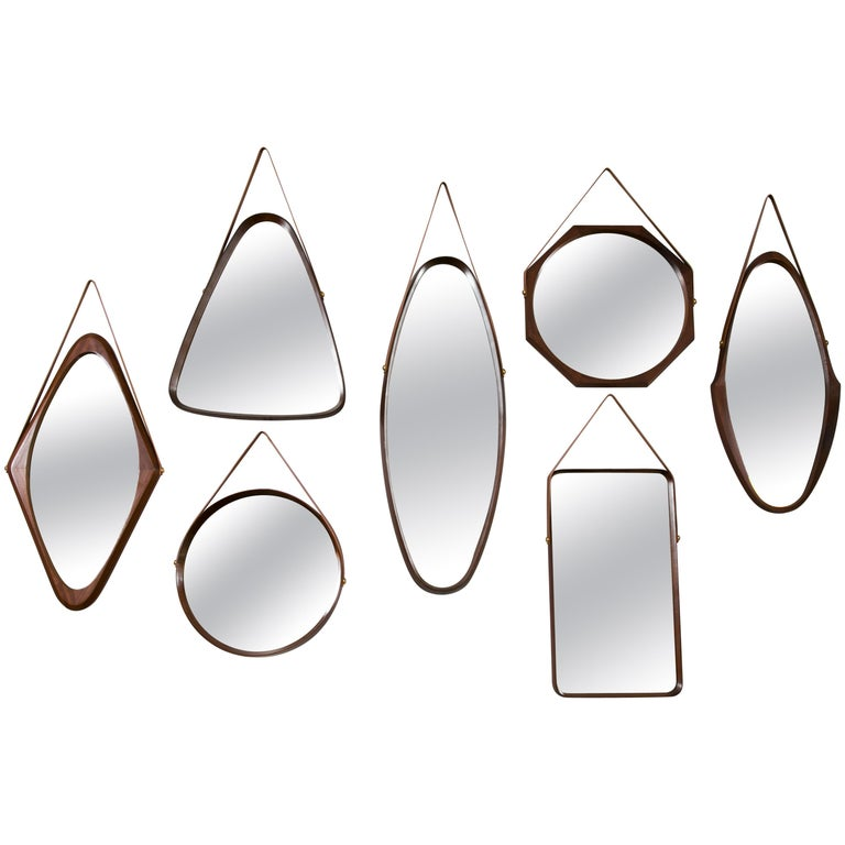 Collection of Seven Walnut Mirrors, Italy, 1960
