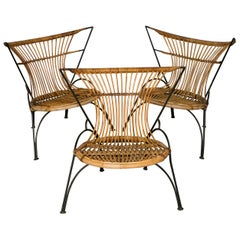 Set of Three Metal and Wicker Slipper Chairs
