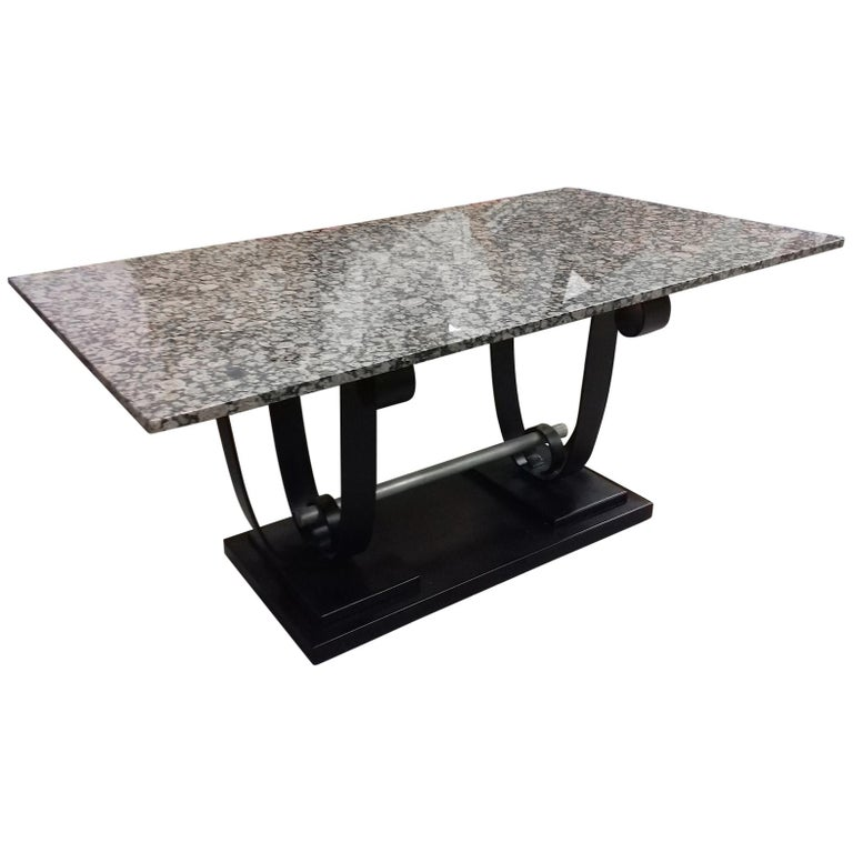 Art Deco Metal and Marble-Top Table, circa 1935