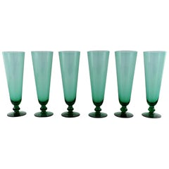 Simon Gate for Orrefors, a Set of Six Green Champagne Glass