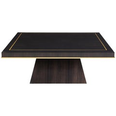 Nazarova Coffee Table, a Modern Piece Finished in Macassar Ebony and Gold Leaf