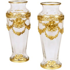 Pair of French Crystal Glass and Gilt Bronze Vases Attributed to Baccarat
