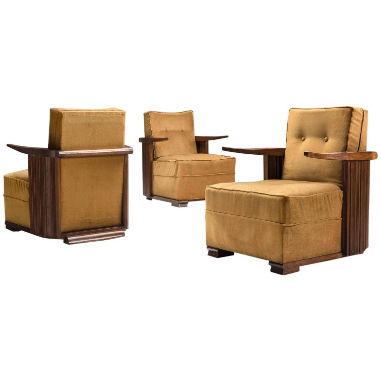 Art Deco Club Chairs in Ocre Velvet and Oak For Sale
