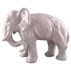 Large Hjorth 'Bornholm, Denmark' Glazed Stoneware Figure, Large Elephant