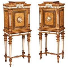 19th Century Pair of Satinwood, Mahogany and Etruscan Style Painted Cabinets