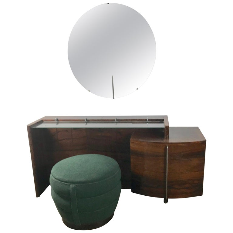 Stunning Gilbert Rohde Art Deco Rosewood Dressing Table, Poof and Mirror For Sale