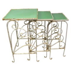 Nest of  Art Deco Garden Patio Tables Attributed to Salterini