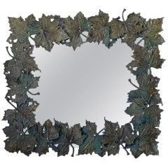 Bronze Plane-Tree Leaf Mirror, France, circa 1950s