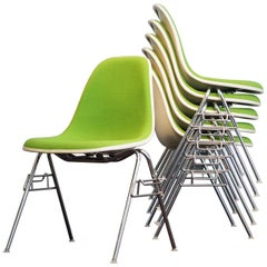 Charles & Ray Eames Side or Dining Chairs off White Bright Green Hopsak