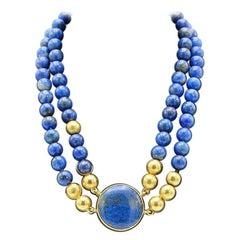 Susanna Dünne Lapis Lazuli and 18 Carat Yellow Gold Necklace
