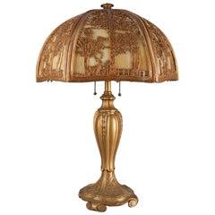 Arts & Crafts Bradley & Hubbard School Gilt Metal & Slag Glass Lamp, circa 1920