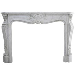 Beautiful White Marble Antique Fireplace from Louis XV, 19th Century
