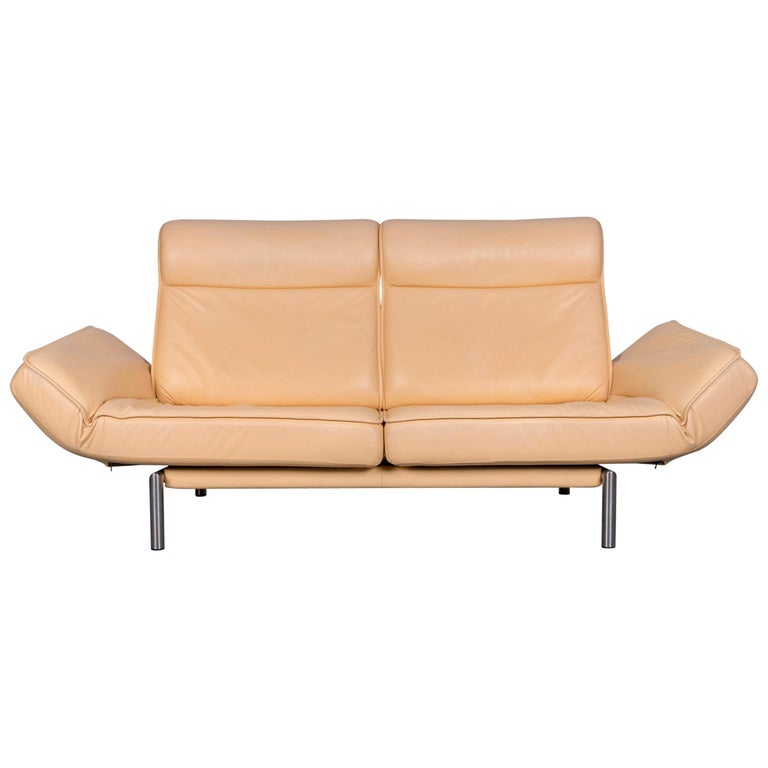 De Sede Ds 450 Designer Sofa Beige Leather Two-Seat Couch