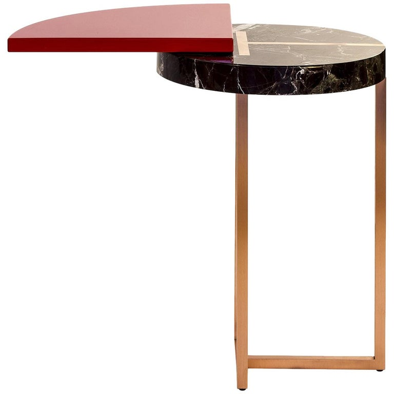 Red Wing End Table in Lacquer Wood, Rosso Lepanto Marble and Copper For Sale