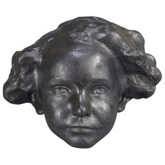 Eugène Canneel Patinated Plaster Cast Wall Sculpture Boys Face