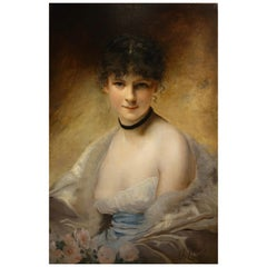 Painting Representing a Portrait of a Young Woman Signed Charles Chaplin