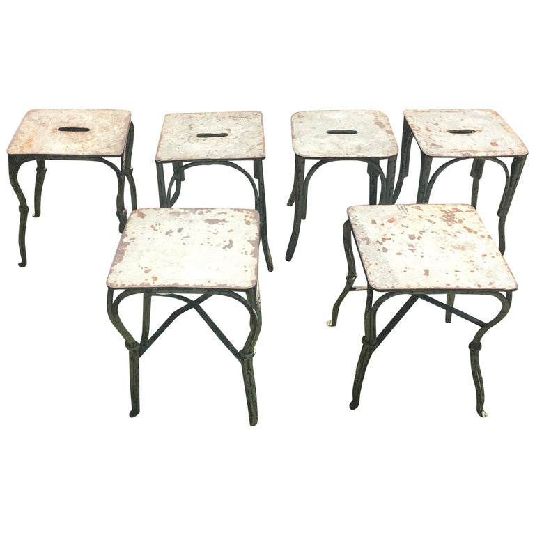 Six French Wrought Iron Garden Stools or Side Tables