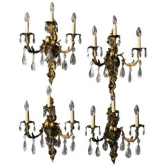 French Set of Four Gilded Bronze and Crystal Triple Arm Wall Lights