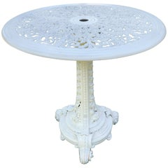 Round Coalbrookdale Cast Iron Table Base with Replaced Aluminum Top