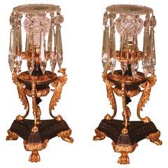 19th Century Regency Bronze Ormolu and Glass Lustre Candlesticks