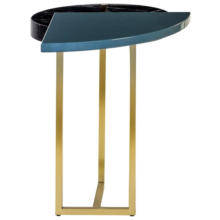 Blue Wing End Table In Lacquer Wood Black Marquinia Marble And Brass