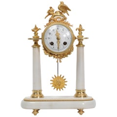 Antique French Marble and Ormolu Portico Clock, circa 1880