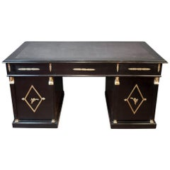 Ebonised 'La Belle Époque' Period French Pedestal Desk with Black Leather Top