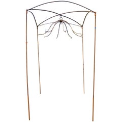 French Arch-Top Square Arbor with Eight-Armed Plant Hanger