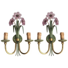 Pair of Italian Pink Crystal Flower Sconces Green Gilt Iron Banci Firenze, 1980s
