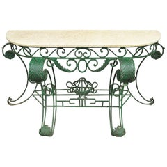 Ornate Italian Regency Style Green Wrought Iron Marble-Top Console Table