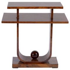 Meroni e Fossati Art Deco Italian Double Shelve Walnut Burl Side Table, 1930