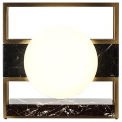 Lampada 14 Table Lamp in Brass and Black Marble, Made in Italy