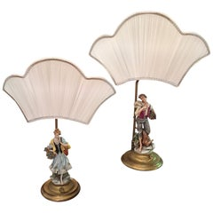 Pair of Capodimonte Italian Porcelain Table Lamps Figural Lamps Signed Pellati
