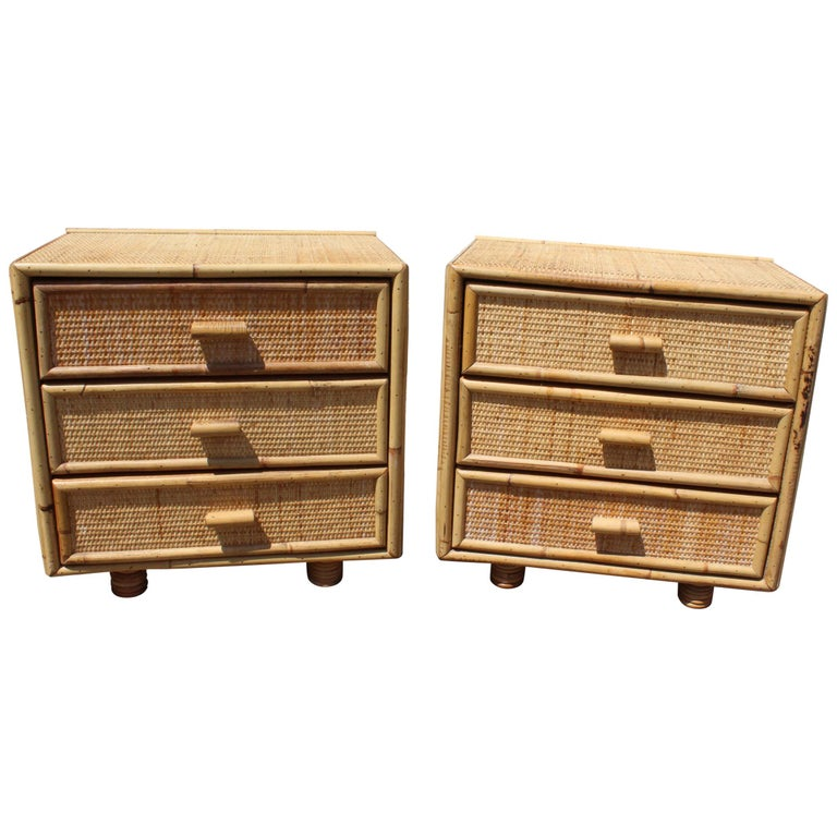1980s Pair of Wicker and Bamboo Bedside Tables