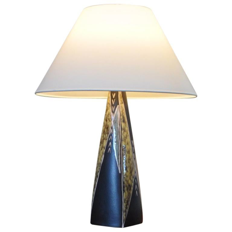 Large Ceramic Table Lamp By Svend Aage Jensen For Søholm, 1950s For Sale