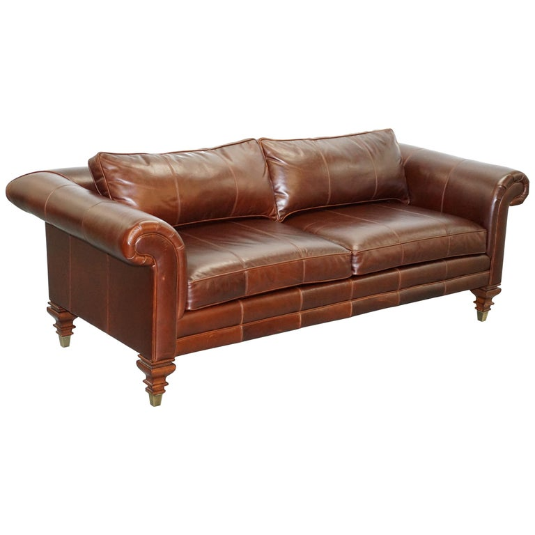 Stunning Ralph Lauren Colonial Thick Brown Leather Three-Seat Sofa