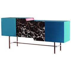 Trapeze Sideboard with Lacquered Wood, Rosso Lepanto Marble and Copper Finish